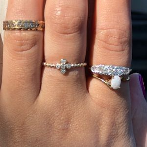 Art Deco solid 18kt gold/platinum diamond ring
